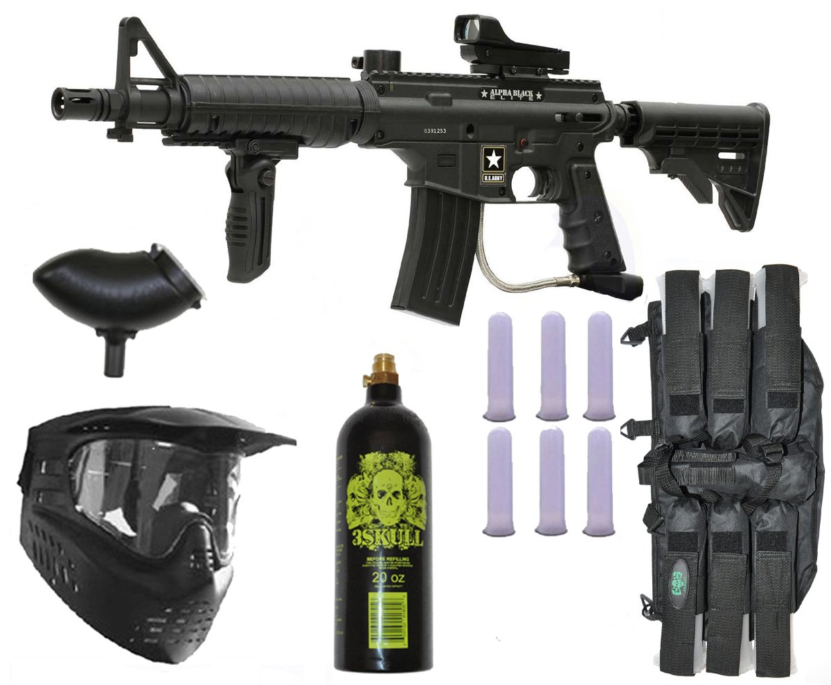 Tippmann US Army Alpha Elite Paintball Marker Gun 3Skull Package Set (Black)