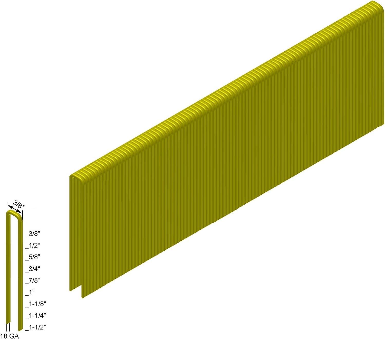 2,600-Pack Senco M Style 18GA Staples Medium Crown 3//8 Crown x 1-1//4 Length Galv PREBENA G32