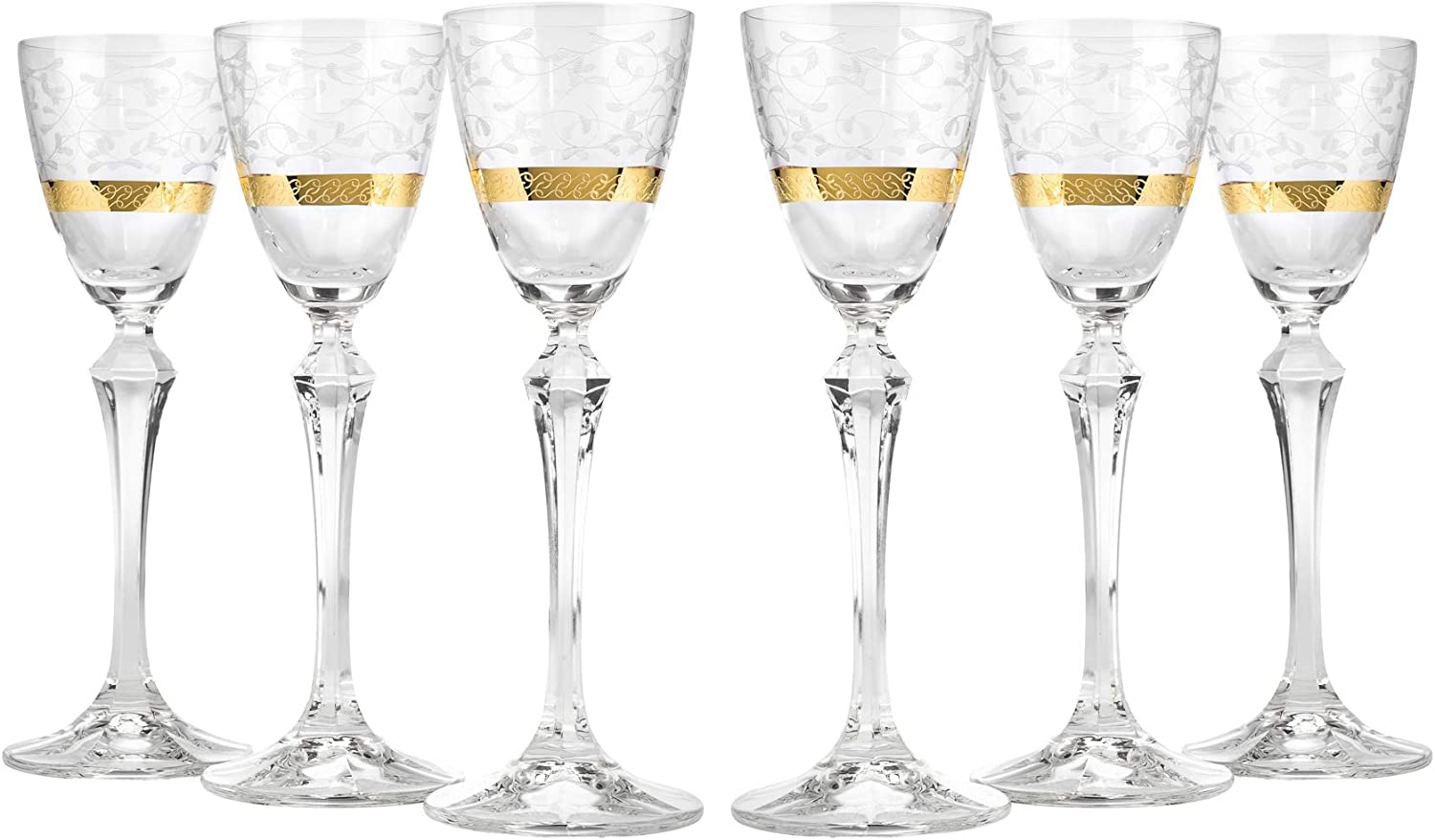 Crystalex ELISABETH GOLD 2.25-Ounces Ornamental Crystal Liquer Stem Glass Set with a Gold Rim, Traditional Bohemian Crystalware, Footed Cordial Glasses for Liquer, 6 Piece Set