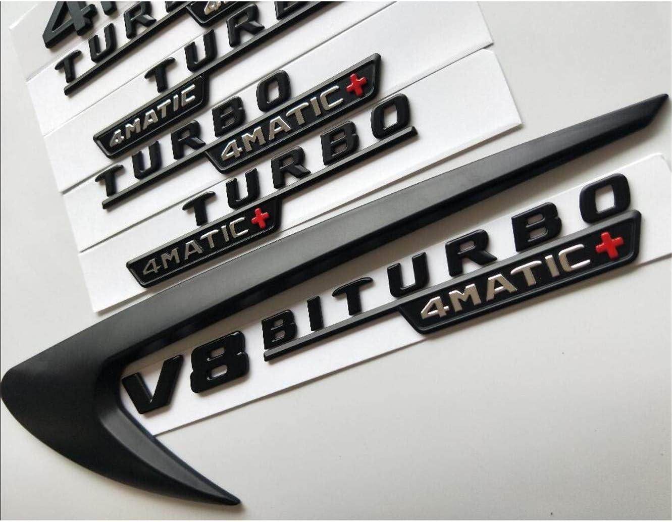 cvnbdfgjhdfjh Schwarze Buchstaben CLA45 V8 BITURBO Turbo 4 Matic Schutzblech Kofferraum Emblem Emblem Badges AMG C117 X117