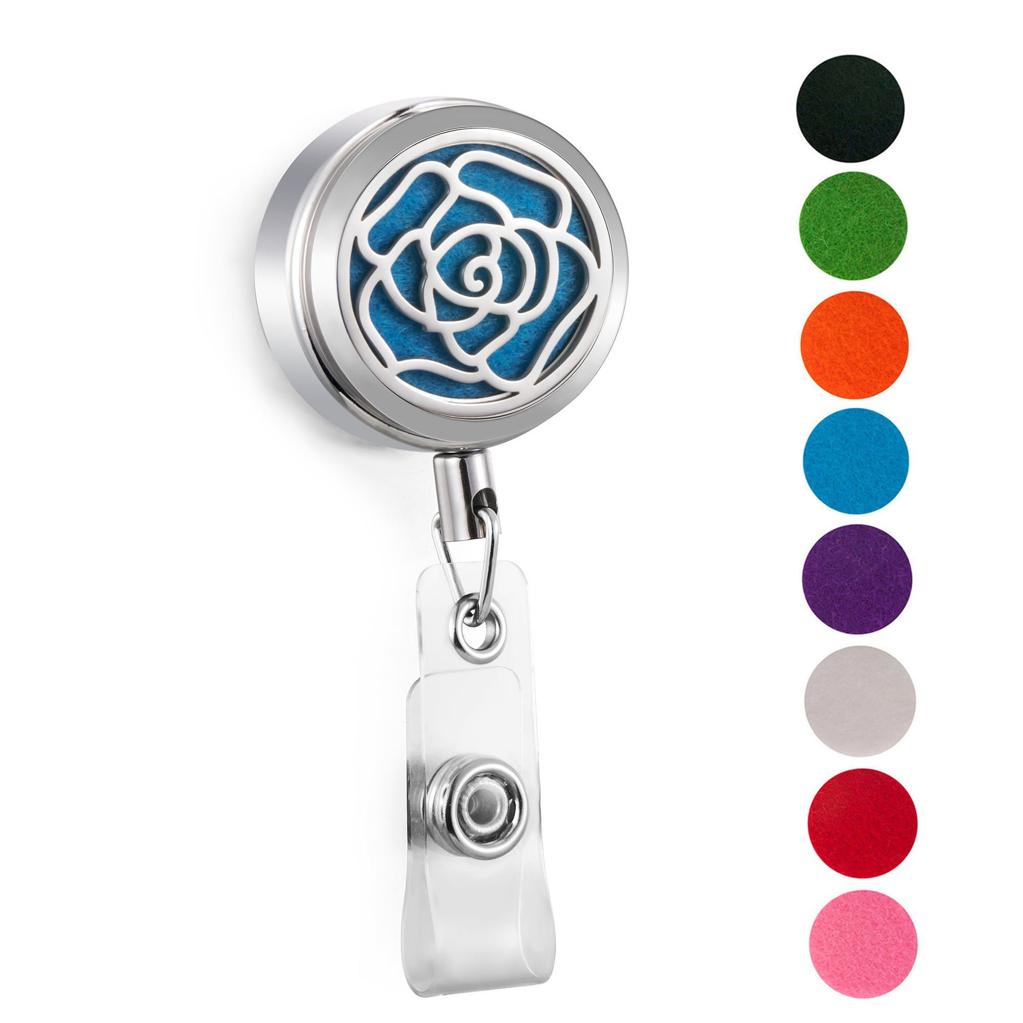 CAPTTE Aromatherapy Essential Oil Badge Diffuser for Nurse Wear-Resisting and Retractable Badge Holder Reel Clip On Id Card Holders with Rose