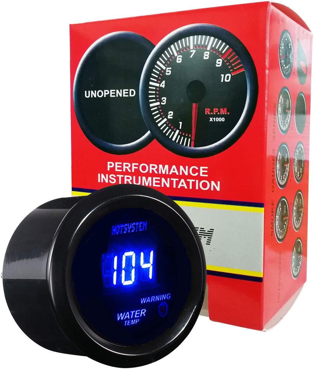 °F Universal Black 52mm 7 Color LED Water Coolant Temperature Temp Gauge Meter