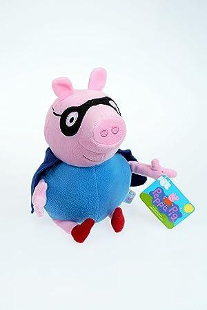 PEPPA PIG- GEORGE DISFRAZADO DE SUPERHÉROE PELUCHE. 20 CM SENTADO Y 26 CM DE