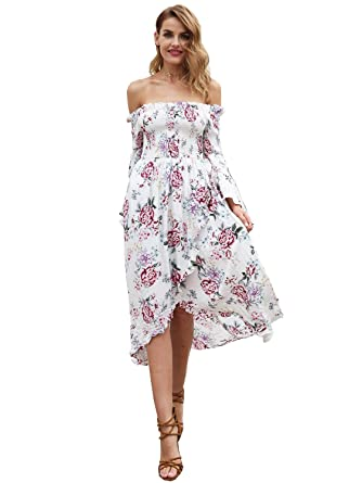 d414db50f6 Simplee Apparel Women s Off Shoulder Long Flare Sleeves Floral Print  Irregular Hem Split Ruffle Dresses White
