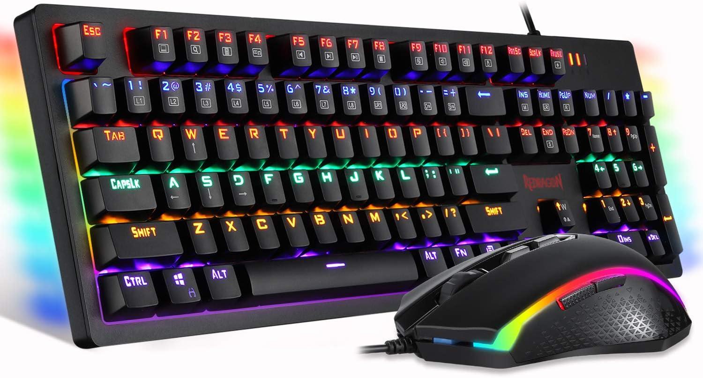 Redragon S117 Juego de teclado y ratón para videojuegos RGB con retroiluminación RGB y teclado color marrón, interruptores RGB para Windows PC Gamers ...