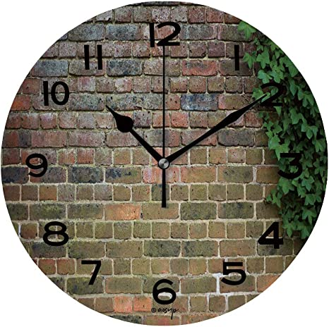 Aluoni 10 Inch Round Face Silent Wall Clock Brick Wall And Ivy Unique Contemporary Home And Office Decor Is155970 Home Kitchen
