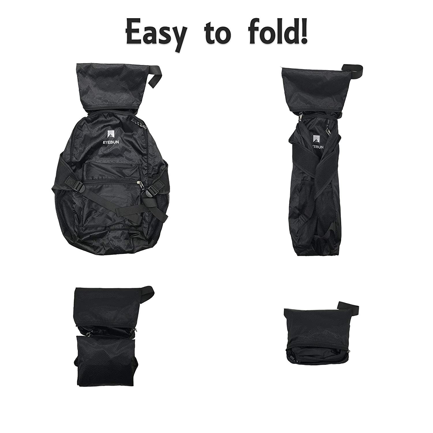 Eyebun 20L Lightweight Packable Travel Hiking Camping Beach Daypack Water Resistant Outdoor Daily Foldable Backpack