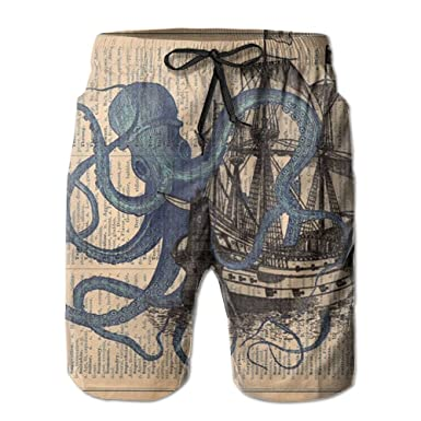8ea5fc2fa2 Amazon.com: Ocean Octopus Nautical Boat Pirate Flag Quick Dry Lace  Boardshort Beach Shorts Pants Swim Trunks Mens Swimsuit With Pockets:  Clothing