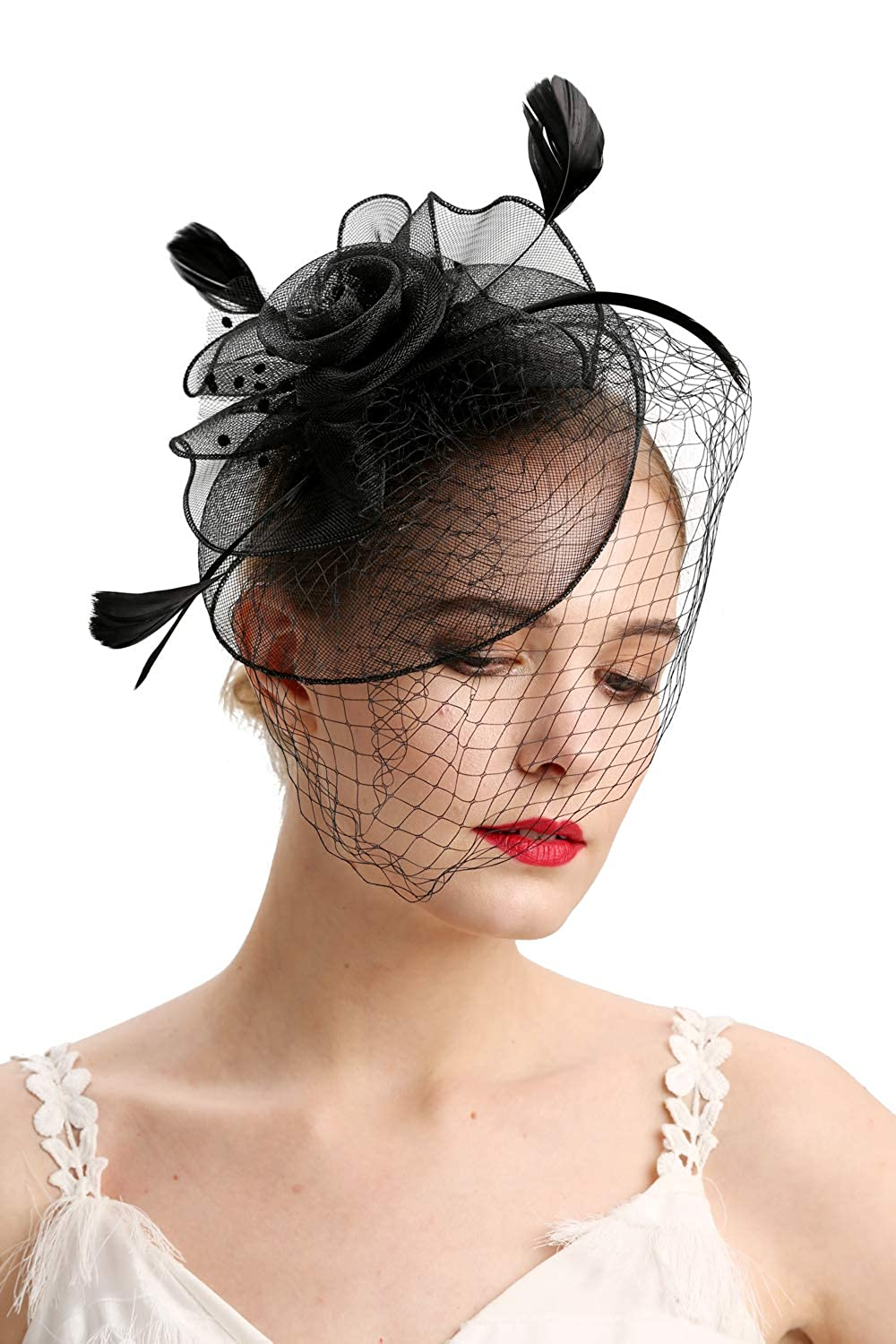 20s Feather Flower Bridal Hairband Wedding Party Church Fascinator Side Hat