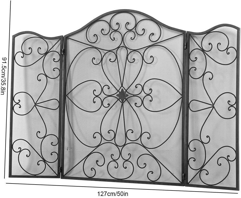 Salvachispas Retro 127 x 91cm Pantalla Chimenea de 3 Paneles Protector de Chimenea de Hierro Plegable