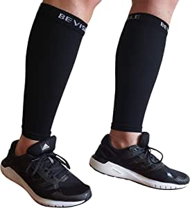 Calf Compression Sleeve Bevisible Sports - Shin Splint Leg Compression Socks for Men & Women - Great for Running, Cycling, Air Travel, Support, Circulation & Recovery - 1 Pair