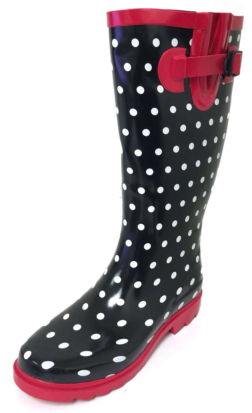 G4U Women's Rain Boots Multiple Styles Color Mid Calf Wellies Buckle Fashion Rubber Knee High Snow Shoes (5 B(M) US, Black/Red Polka Dots)