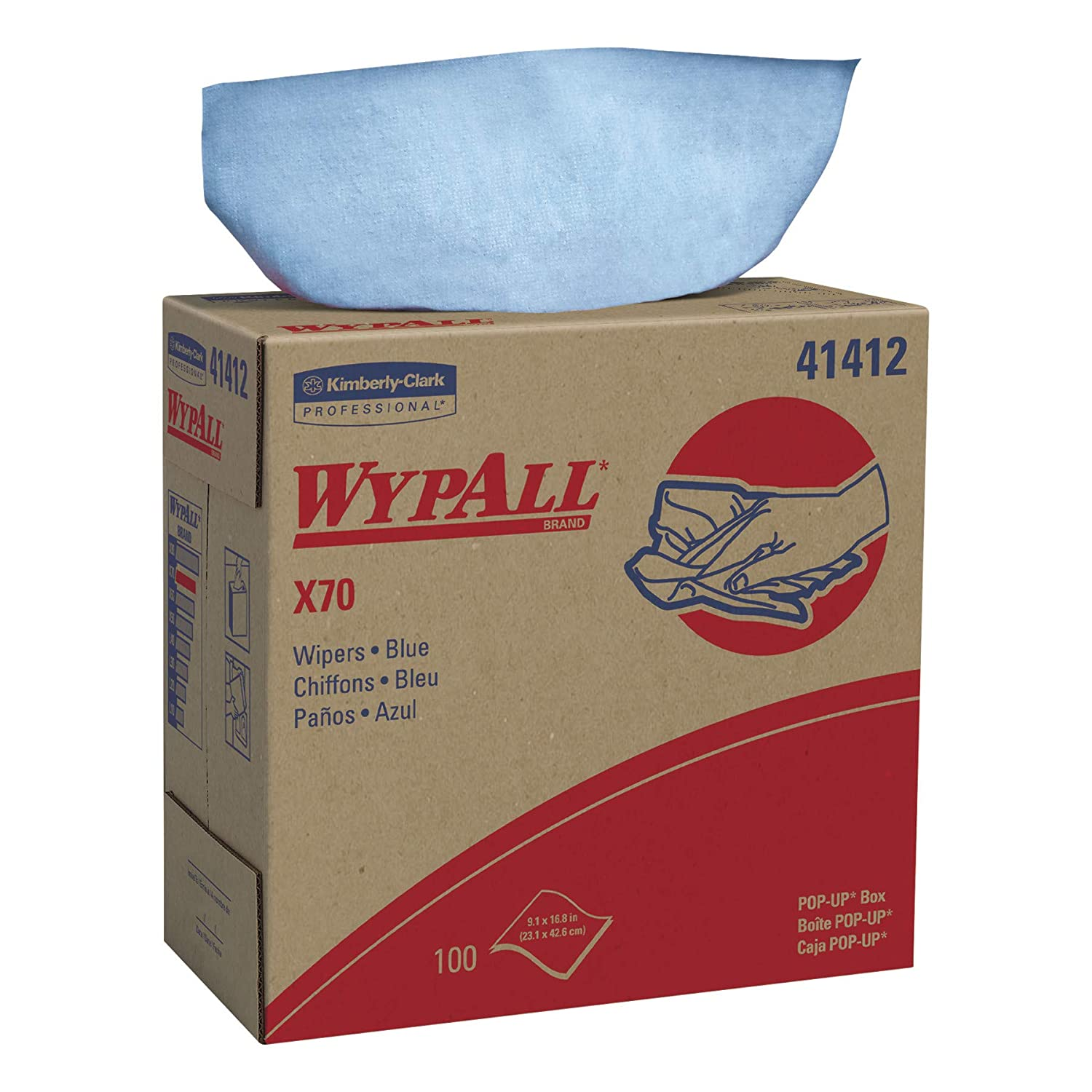 WypAll 1 ply 8390 X70 Cleaning Cloths 10 POP-UP Boxes x 100 Cloths Blue