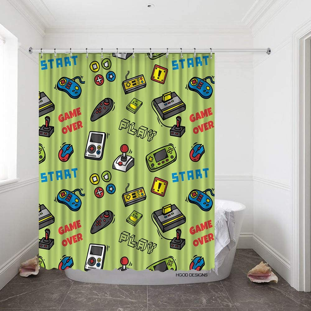 Neon Signboard In The Game Hall Shower Curtain Bathroom Decor Fabric /& 12hook