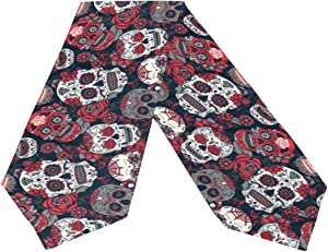Naanle Double-Sided Fashion Floral Sugar Skull with Rose Flowers Day of The Dead Halloween Decor Polyester Table Runner & Bed Runner 13