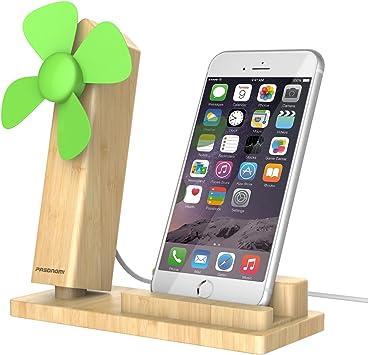 Soporte para móvil de madera portátil con ventilador USB, Pasonomi ...