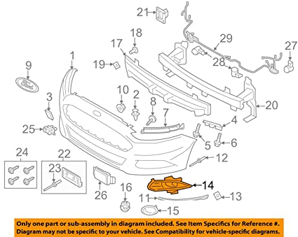 Ford Fusion Parts >> Amazon Com 2013 2014 Ford Fusion Right Hand Passenger Side
