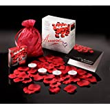 Valentine Amore Romantic Gift Set - Bed of Roses Scented floating silk rose petals and tealight candles