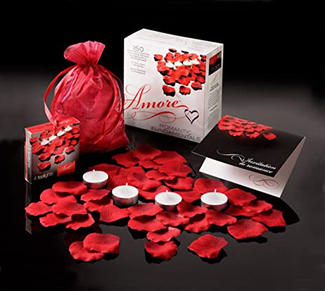 valentine amore romantic gift set bed of roses scented floating silk rose petals and tealight
