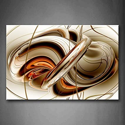 Amazon.com: First Wall Art - Abstract Brown White Lines Wall Art ...