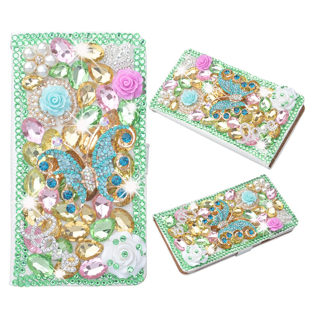 Evtech(tm) Butterfly Colorful Rhinestone Bling Crystal Glitter Book Style Folio PU Leather Wallet Case with Handbag Phone Holder & Card Slots for iPhone 5s