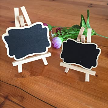 Paquete de 10 pizarras pequeñas con soporte de madera para ...