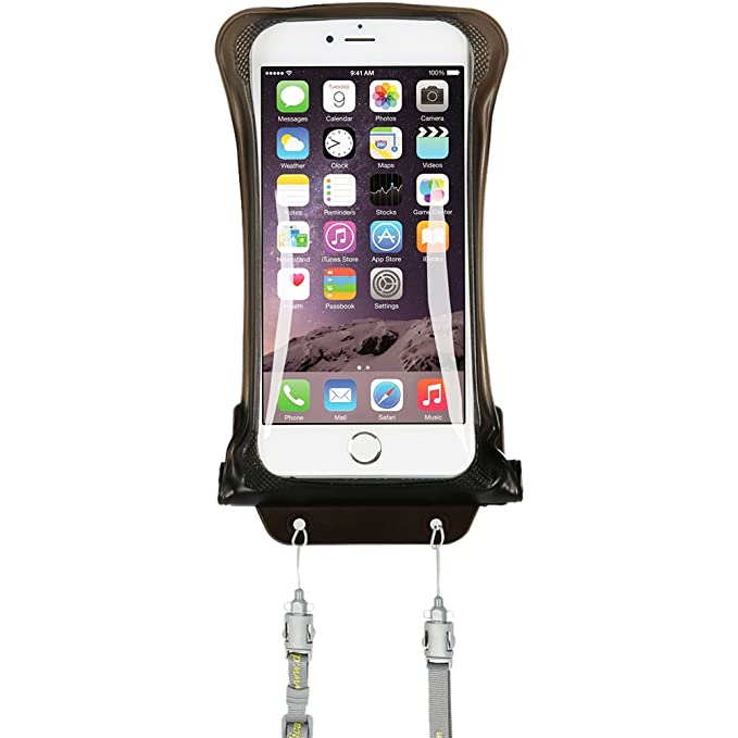 low priced 186b4 bd45a AquaVault AV03 Waterproof Floating Smart Phone Case & Money Pouch. One Size  Fits All Phones, Dual Layer Shock Absorbing, Includes Neck Strap, Black