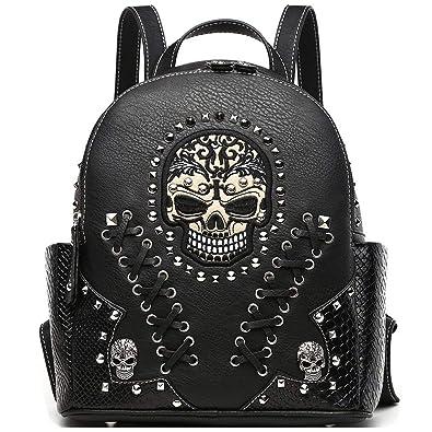 0f143fd1c2692c Sugar Skull Punk Art Rivet Studded Biker Purse Women Fashion Backpack  Bookbag Python Daypack Shoulder Bag