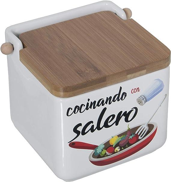 Color Blanco KOOK TIME Salero de Cocina de Cer/ámica cuadrado con tapa de madera de Bamb/ú Basculante 11.2 x 11.2 x 11.2 cm