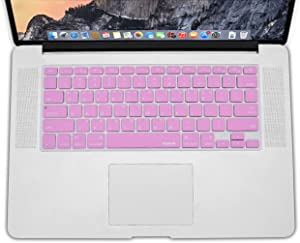 XSKN Korean Language Pink Color Silicone Keyboard Skin Cover for MacBook Air 13, Pro 13 15 17 inch, US Layout (Korean/English)