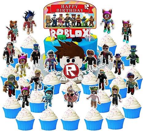 Roblox Games Cake Amazon Com 24 Pieces Happy Birthday Cake Toppers For Roblox Cake Topper Cupcake Toppers Birthday Party Supplies Toys Games