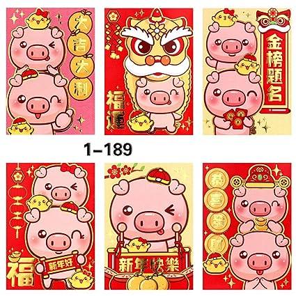 Amazon Com 36 Pcs 2019 Chinese New Year Red Envelopes Pig Year