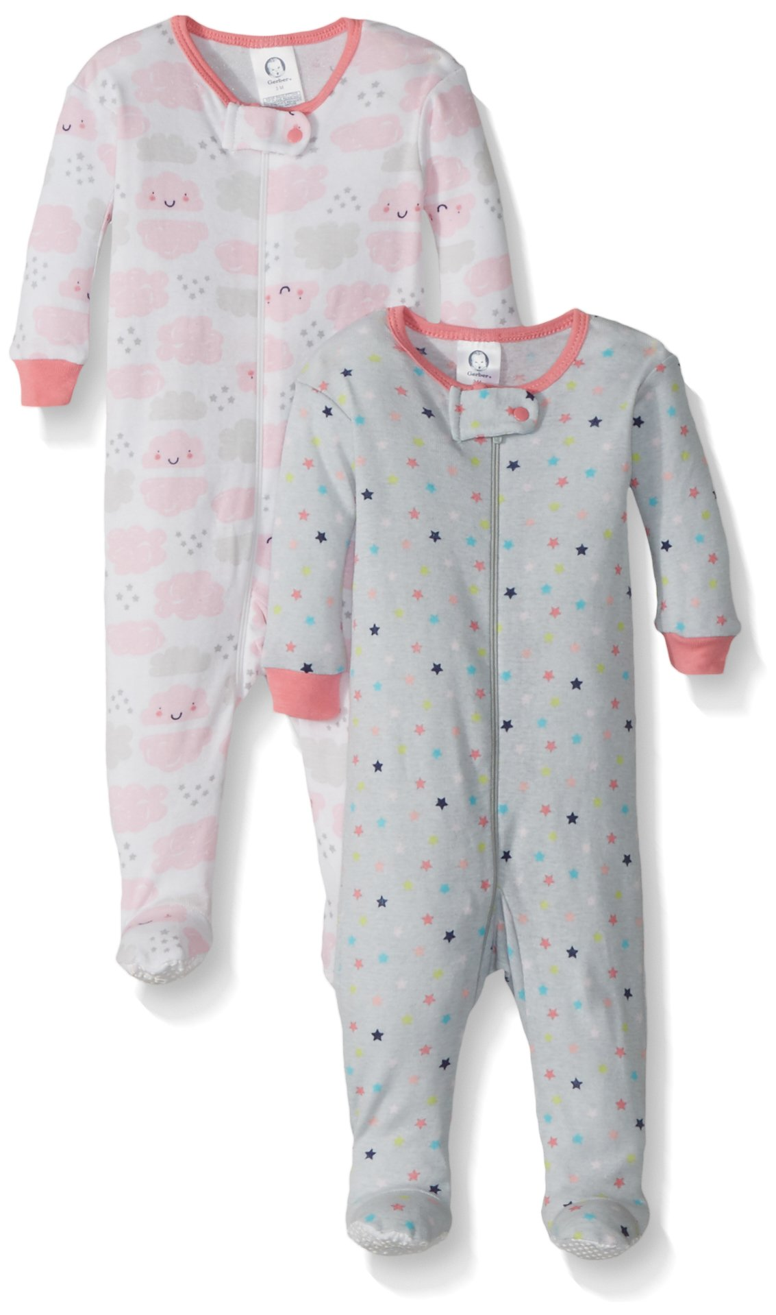 Gerber Baby Girls 2 Pack Footed Sleeper, Stars/Clouds, 12 Months