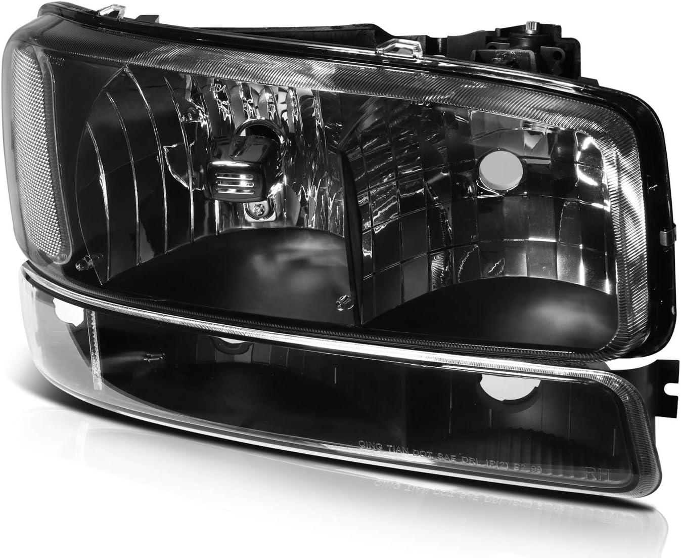 ECCPP Headlight Assembly Black Headlights+Bumper Light Lamp for GMC Sierra 1500 2500 3500,1500 HD 2500 HD,1500 HD//2500 HD//3500 Classic,for GMC Yukon,for GMC Yukon XL 1500 2500 1999-2007
