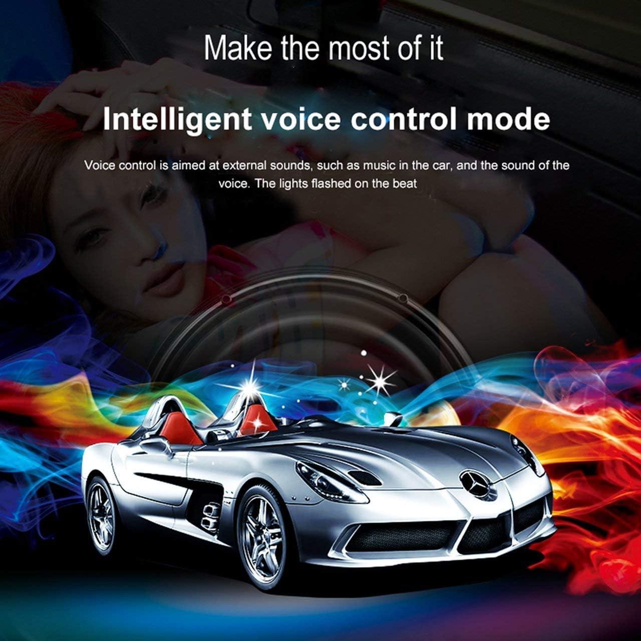 with Sound Active Function and Remote Control BRTLX Car Interior Lighting LED Atmosphere Light 2PCS RGB Car Strip Light Kit 12V 2 x 12 LEDs 2 * 20cm