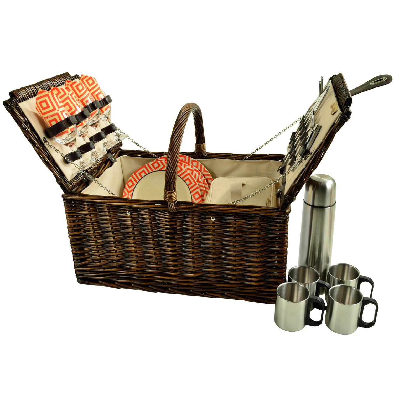 Picnic at Ascot 714C-DO Buckingham Willow Picnic Basket, Brown Wicker/Diamond Orange