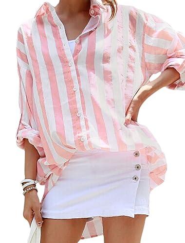 sourcingmap Mujer Cuello De Punto Botonadura Simple Rayas Estampado Camisa Túnica - sintético, Rosa, 30% algodón 70% poliéster, Mujer, S (UK 8)