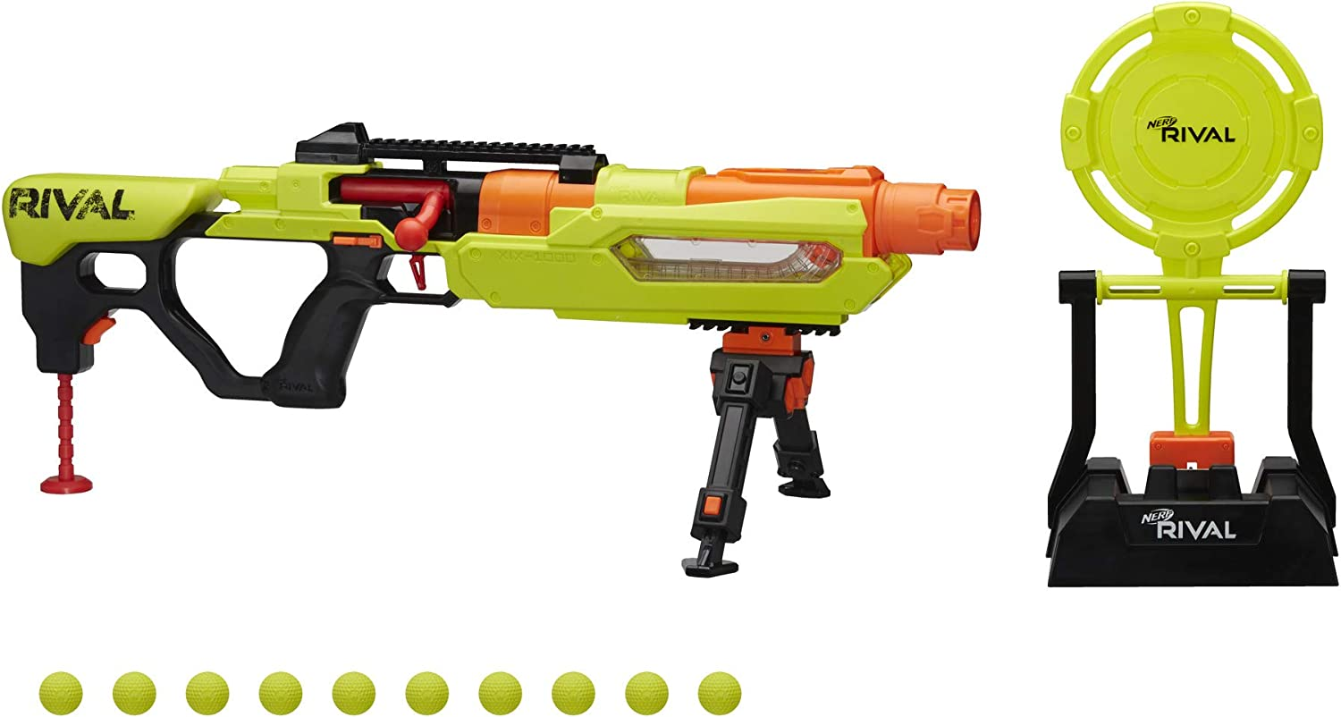 Amazon Com Nerf Rival Jupiter Xix 1000 Edge Series Blaster With Target And 10 Rounds Bundle Rival 100 Round Refill Pack Toys Games