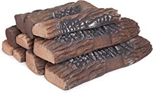 GASPRO Gas Fireplace Logs, 10 Piece Ceramic Fireplace Logs for All Types Fireplace - Ventless, Insert, Propane, Natural Gas, Electric, Indoor & Outdoor Use