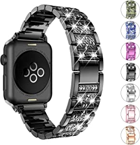 wootfairy Bling Band Compatible with Apple Watch Bands 38mm 40mm, Diamond Rhinestone Stainless Steel Band for iWatch Strap for Apple Watch Series 5/4/3/2/1 (Black, 38mm/40mm)