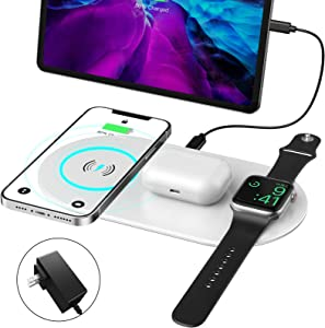 Tensea Dual Wireless Charger, 3 in 1 Charging Pad Compatible with iPhone 12/11/XR/XS/88/iWatch/Airpods, Qi Fast Wireless Charging Station for Galaxy S20/Note 10 (with AC Adapter) (Silver Gray)