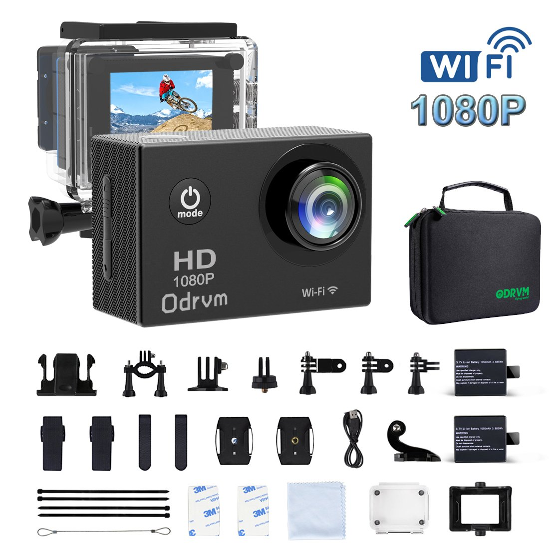 2.0-Inch WIFI Underwater Camera 12MP Sports Action Camera Diving 30M Waterproof Camera, HD 1080P Motorcycle Helmet Cam Bicycle Action Camcorders for Riding, Racing, Skiing, Motocross And Water Sports by ODRVM
