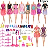 JETTINGBUY 10-Pack Barbie Doll Clothes + 100pcs Different Barbie Accessories Shoes Glasses Necklace Crown Mirror for Barbie Doll