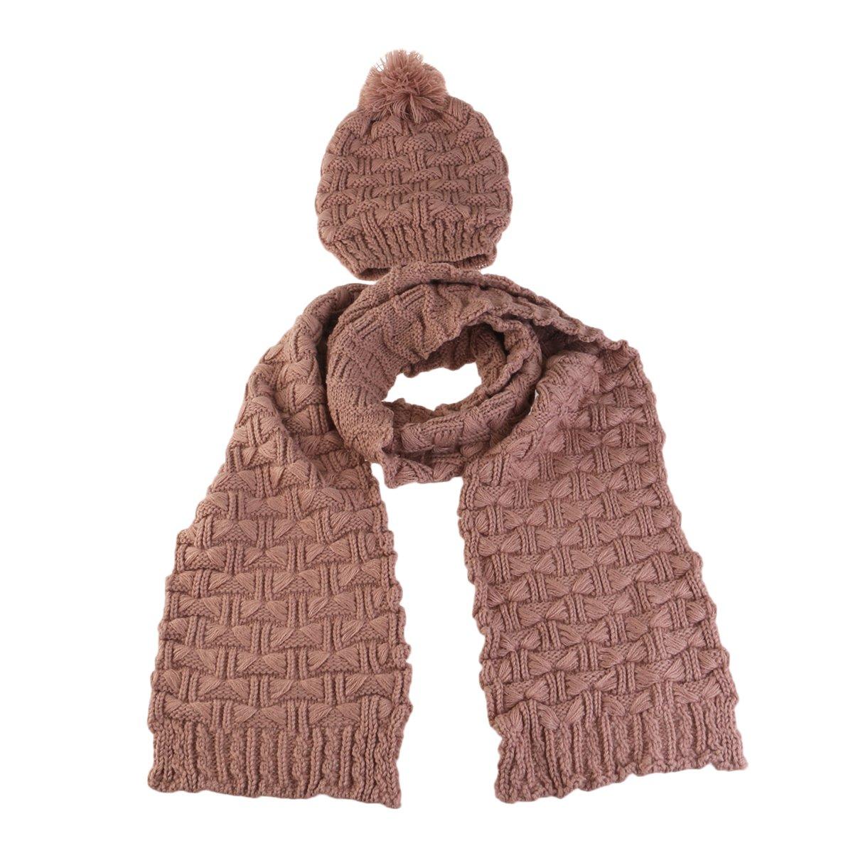 Pixnor Donne Inverno Lavorato a maglia, cappello e sciarpa Set, As Shown