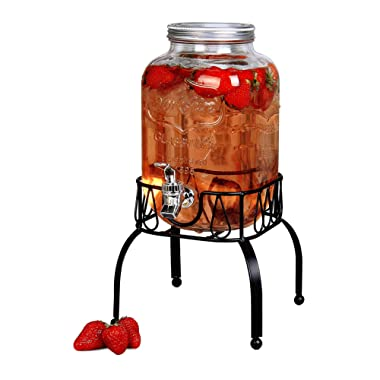 Estilo EST3088 On On Metal Stand with Leak free Spigot 1 Gallon Single Beverage Drink Dispenser, Clear