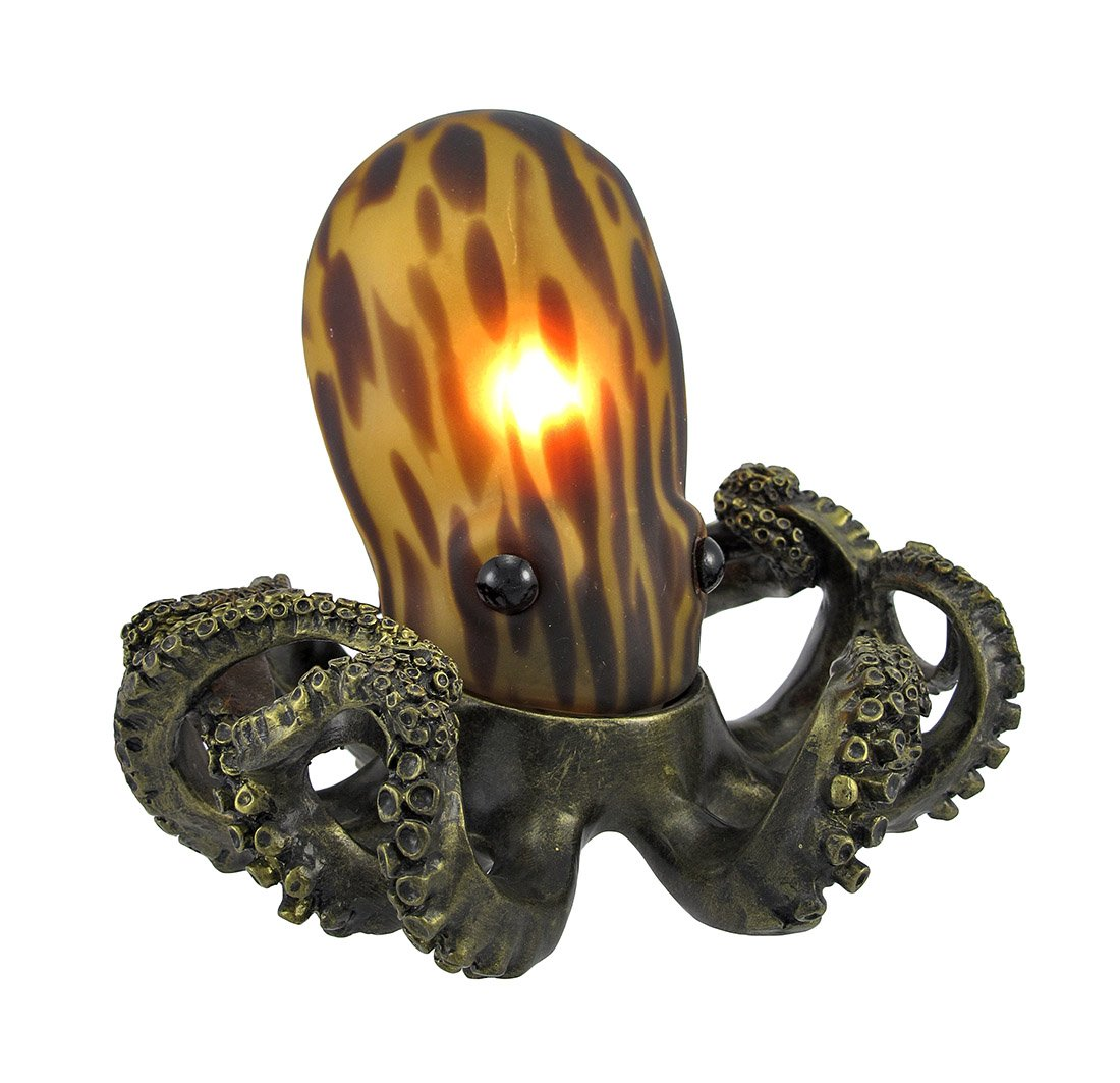 Resin Accent Lamps Tl3740a Amber Glass Octopus Accent Lamp Bronzed Base 5.5  X 6 X 7 Inches Amber   Indoor Figurine Lamps   Amazon.com Nice Design
