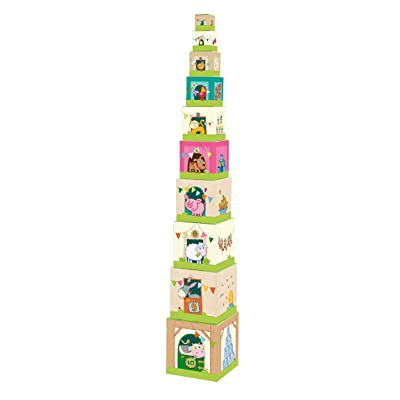HABA On the Farm Sturdy Cardboard Nesting & Stacking Cubes - Reinforcing Numbers 1 to 10: Toys & Games