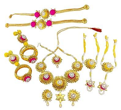 ac9b239ed40dfb Blent#63 Mango Yellow Pink Gota Patti Flower Jewellery Set for  Women/Kids/Girls/Bride/Bridal Haldi/Mehandi (Handmade Light Weight  Rajasthani Fashion ...