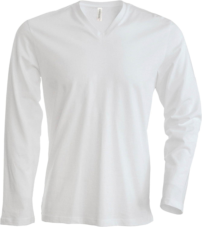 Collo a V Tinta Unita in Cotone Kariban Uomo Slim Fit t-Shirt a Maniche Lunghe