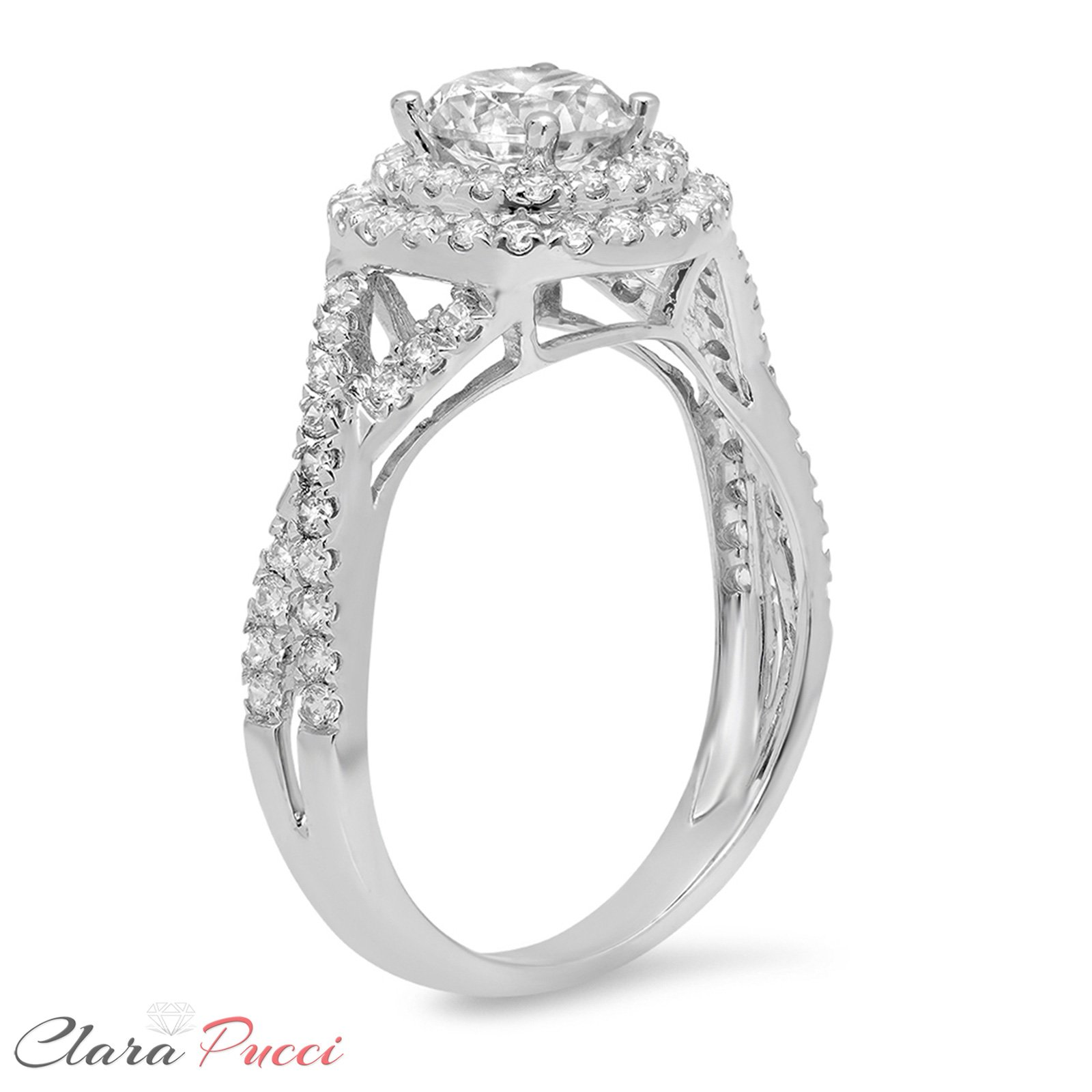 Clara Pucci 1.3 CT Round Cut Pave Halo Promide Bridal Engagement Ring Band 14k White Gold, Size 7 by Clara Pucci (Image #2)